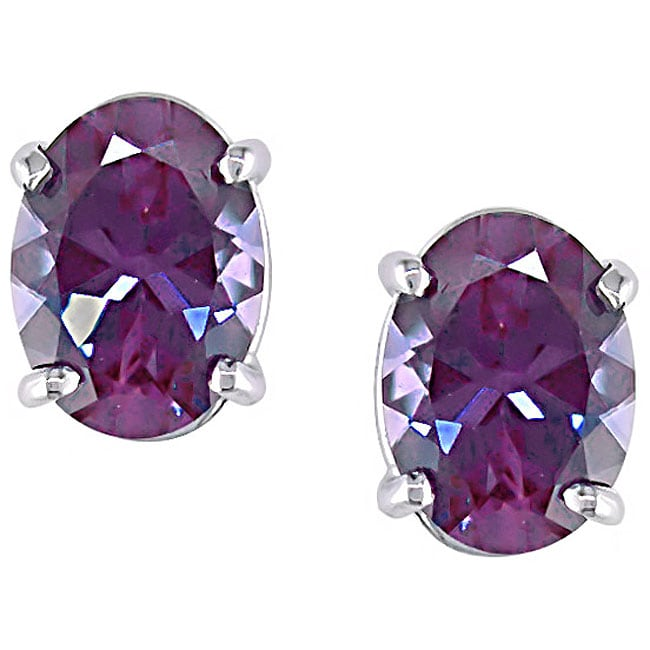 14k White Gold Created Alexandrite Stud Earrings