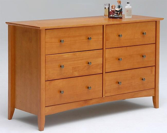 Shaker Six Drawer Dresser Honey Finish