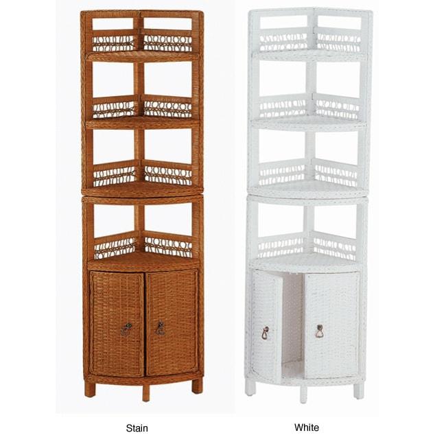 Wicker Two Door Bathroom Corner Shelf Free Shipping