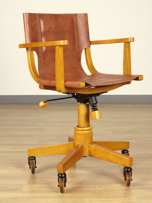 Light Wood Saddle Leather Office Chair - Light Wood Saddle Leather Office Chair - Free Shipping Today