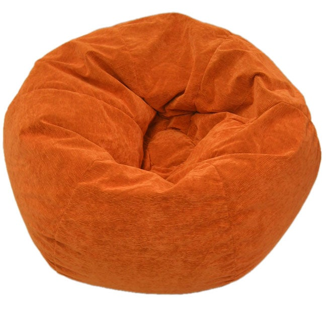 Gold Medal Sueded Corduroy Kid's Orange Beanbag Chair - Multi