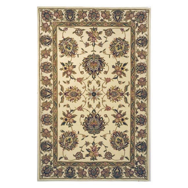 Safavieh Handmade Traditions Tabriz Ivory Wool and Silk Rug - 5' x 8'