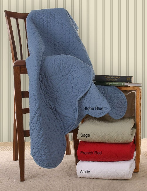 Solid Scalloped Throw Blanket