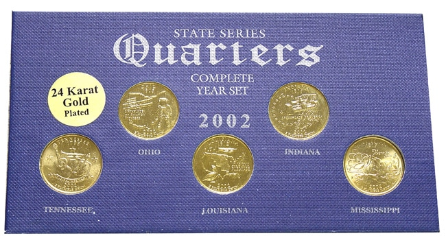 24k Gold Plated 2002 State Quarter Series & Knife