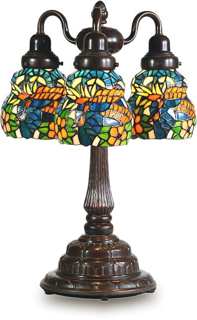 Tiffany-style Coral Blue Three-shade Table Lamp