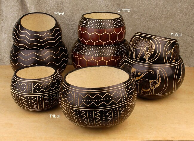 Kamba Tribe Decorative Gourd Bowl Set Of 2 Kenya Free