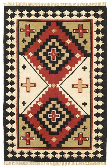 Hand woven Sancho Flat Wool Rug (5 x 8)