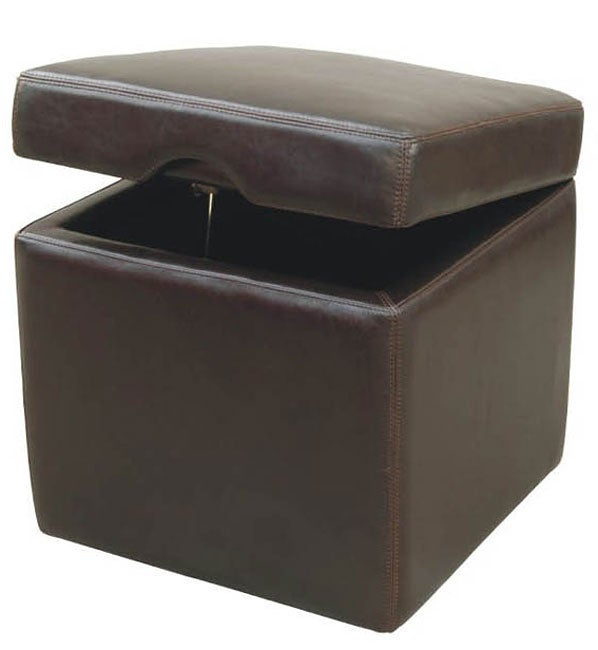 Jarcy Full By-cast Leather Espresso Storage Cube Ottoman