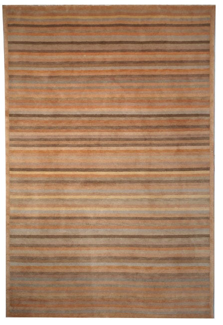 Safavieh Hand-knotted Tibetan Striped Apricot/ Sage Wool Rug (4' x 6')