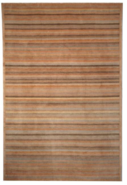 Safavieh Hand-knotted Tibetan Striped Apricot/ Sage Wool Rug - 4' x 6'