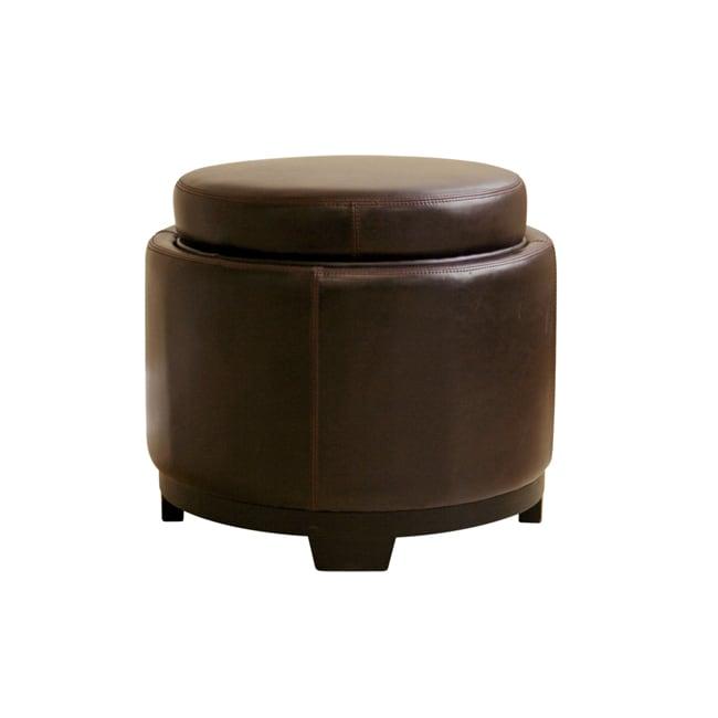 Jody Brown Round Tray-top Storage Ottoman - Jody Brown Round Tray-top Storage Ottoman - Free Shipping Today