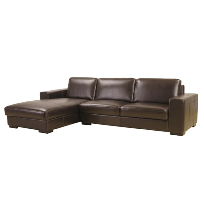 Dana Brown Bi-cast Leather Sectional Sofa - Thumbnail 0
