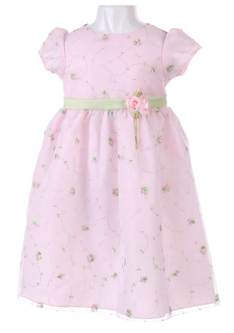 af9db0377922 Shop Chantilly Place Girls' Pink Lace Rosettes Dress - Free Shipping ...