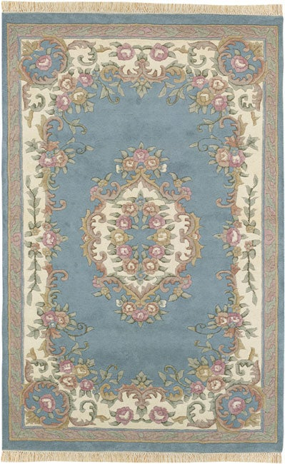 Shop Hand Knotted Blue Aubusson Wool Rug 3 X 5 Oval