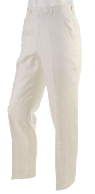 Prague Men's Flat Front Ivory Linen Pants