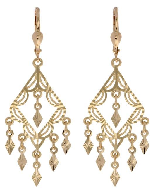 14k Gold Diamondcut Chandelier Earrings Free Shipping Today – Gold Chandelier Earrings