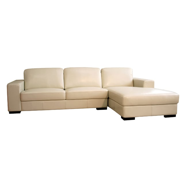 Cream Bi Cast Leather Chaise Sectional Sofa Free