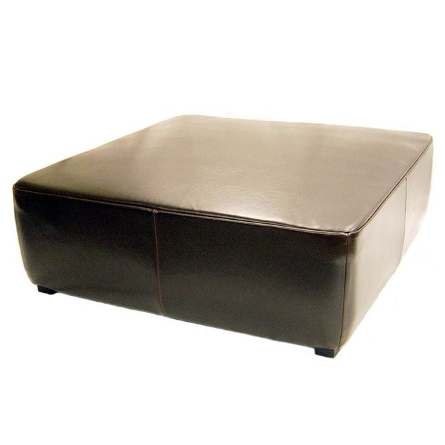 Large Espresso Brown Leather Ottoman