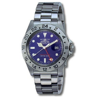 bb1592fb1dc Shop Invicta GMT Men s Blue Dial Stainless Steel Watch - Free Shipping  Today - Overstock - 1833232