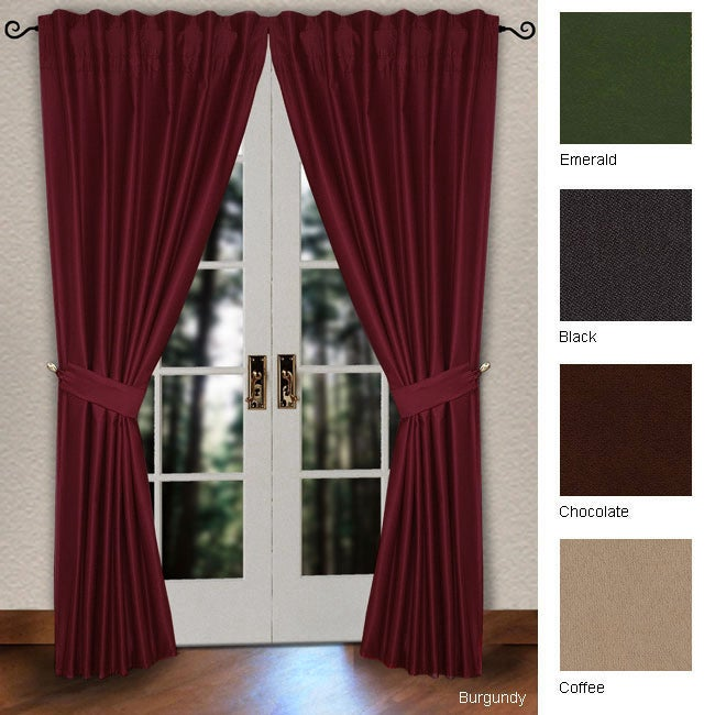 Lambrequin Pleated Pole Top 86-inch Curtain Panel Pair