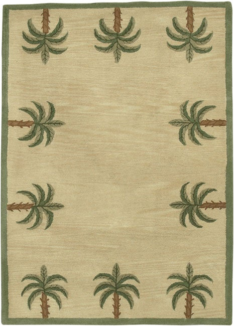 Hand Tufted Palm Tree Wool Rug 8 X 10 Free Shipping