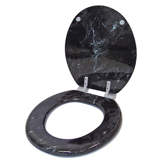 Shop Black Granite Marblized Wood Toilet Seat Free