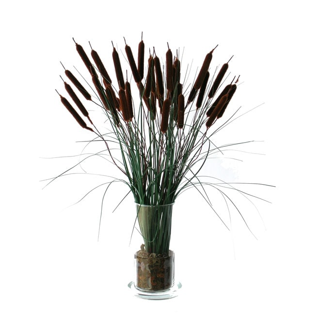 Silk Cattail Floral Arrangement - Free Shipping Today - Overstock.com - 10178297