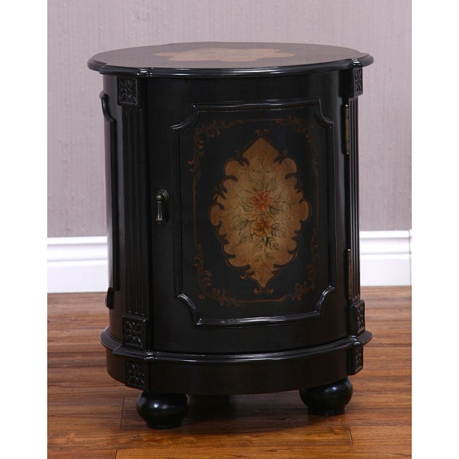 Hand Painted Black Drum Accent Table Free Shipping Today