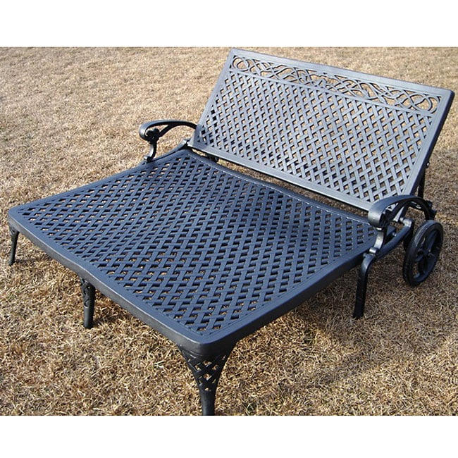 Cast aluminum double chaise lounge free shipping today for Cast iron chaise lounge