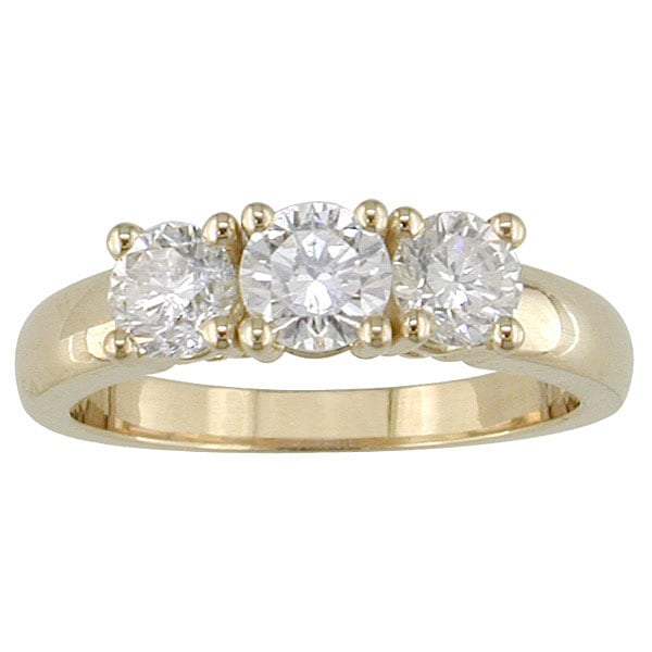 14kt Yellow Gold 1ct TDW Round Diamond Three-Stone Ring