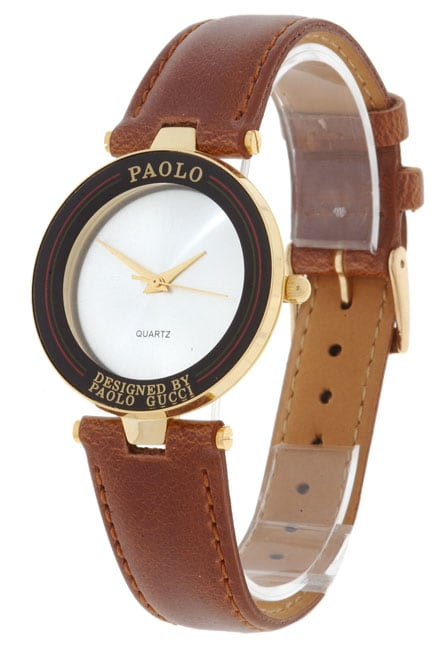 paolo gucci men s silver dial brown leather strap watch paolo gucci men s silver dial brown leather strap watch