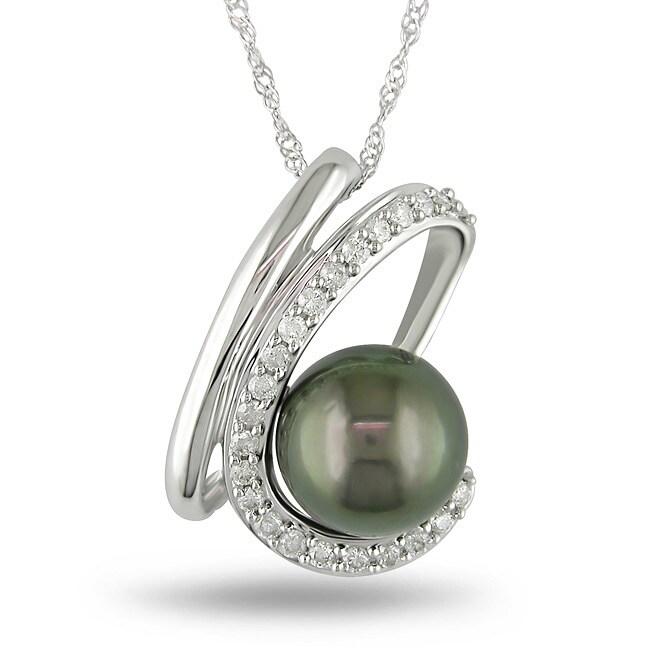 Miadora 14k Gold Tahitian Pearl and 1/4ct TDW Diamond Necklace (J-K, I2-I3) (9-10 mm)