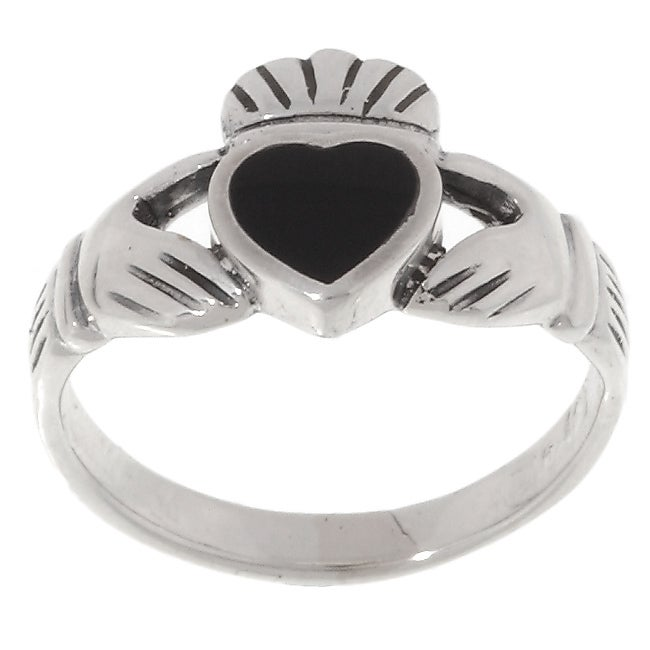 02c6f9a3f Shop Journee Sterling Silver Black Onyx Claddagh Ring - Free Shipping On  Orders Over $45 - Overstock - 1876000