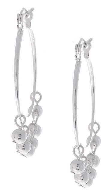 Sterling Silver Hoop and Ball Earrings