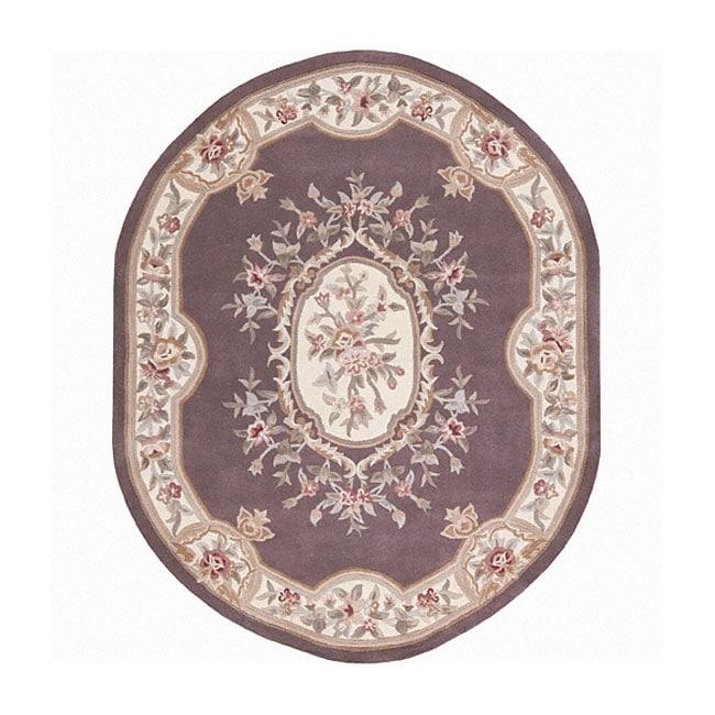 Nourison Hand Tufted Aubusson Lavender Wool Rug 8 X 8