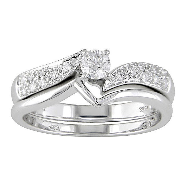 14-kt. White Gold 1/3-ct. TW Diamond Wedding Ring Set (case of 2)