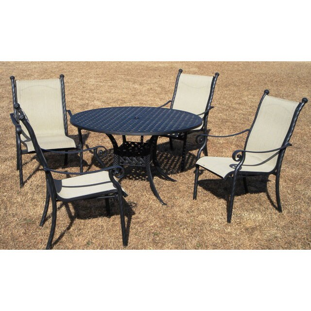 Lake View Cast Aluminum Sling Five Piece Patio Furniture Set Free Shipping Today 1883048