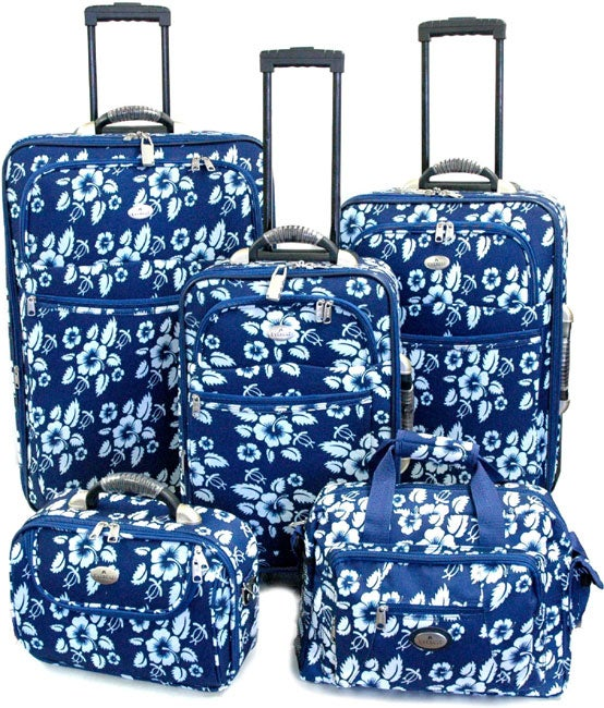 Hawaiian Print 4 Piece Luggage Set With Free Tote Free