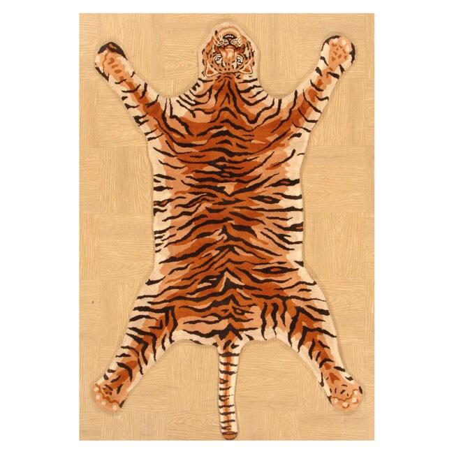 (4' X 6') Hand-tufted Tiger Shape Wool Rug