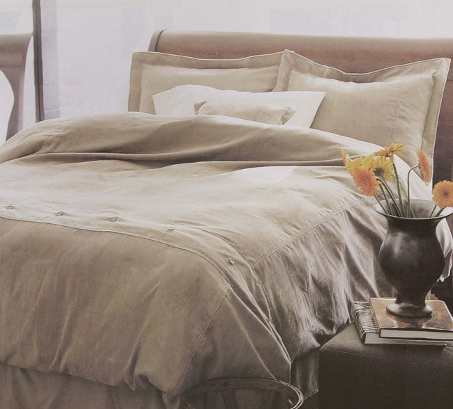 Tan Microsuede Duvet Cover Set with Bedskirt
