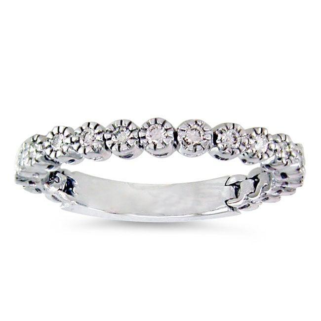 14 kt White Gold 14 ct TW Flexible Diamond Wedding Band Free