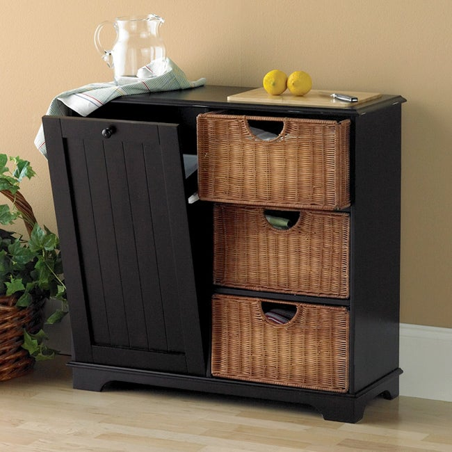 distressed black trash bin storage table free shipping today