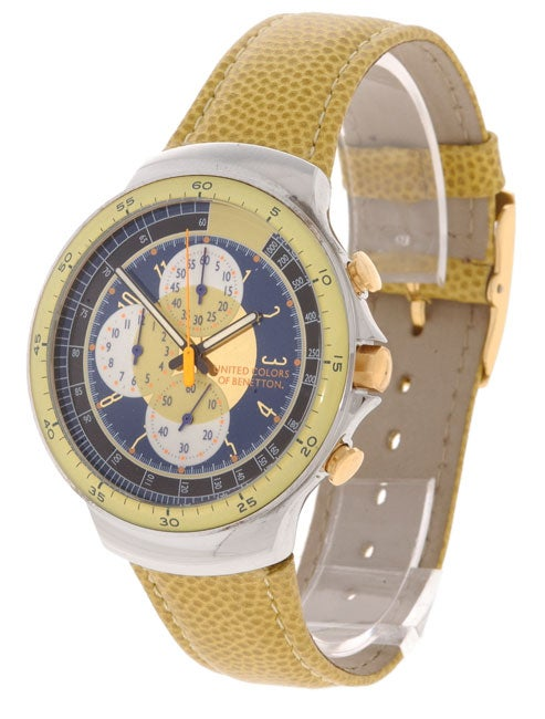 United colors of benetton men 39 s navy and yellow chronograph watch free shipping today for Benetton watches
