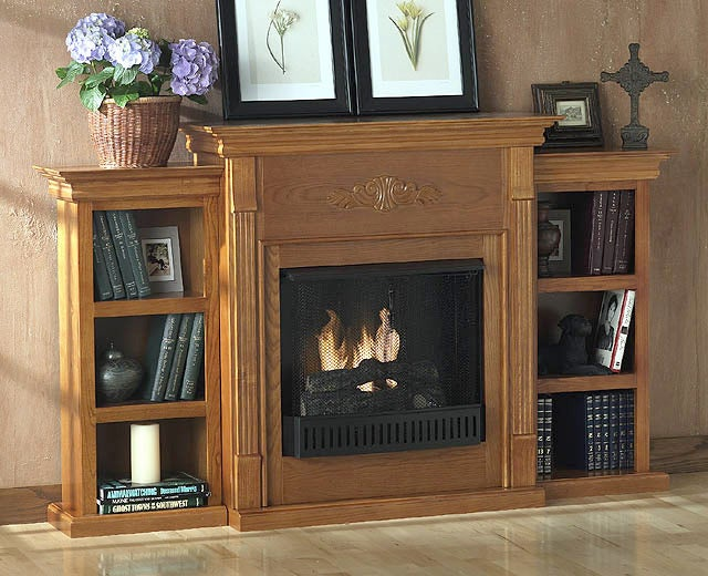 Cherry Ventless Bookcase Fireplace Free Shipping Today