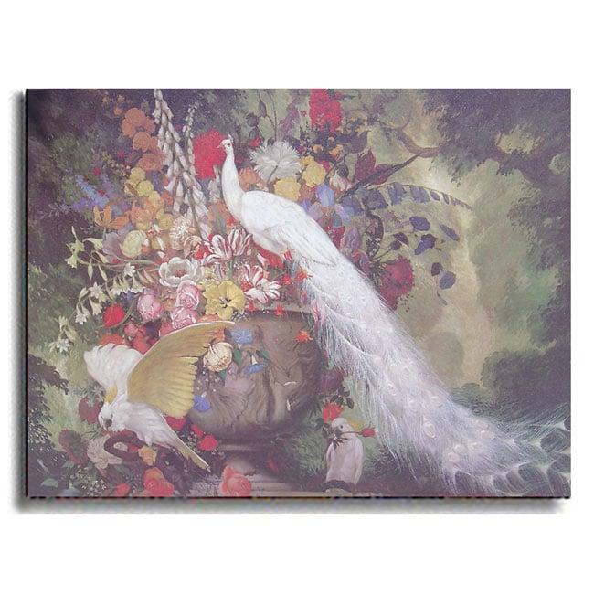 White Peacock, Cockatoos & Flowers by Botke Canvas Art Print