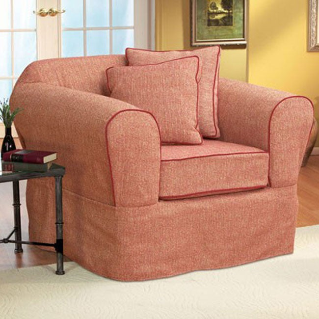 sure fit basic tweed two piece chair slipcover