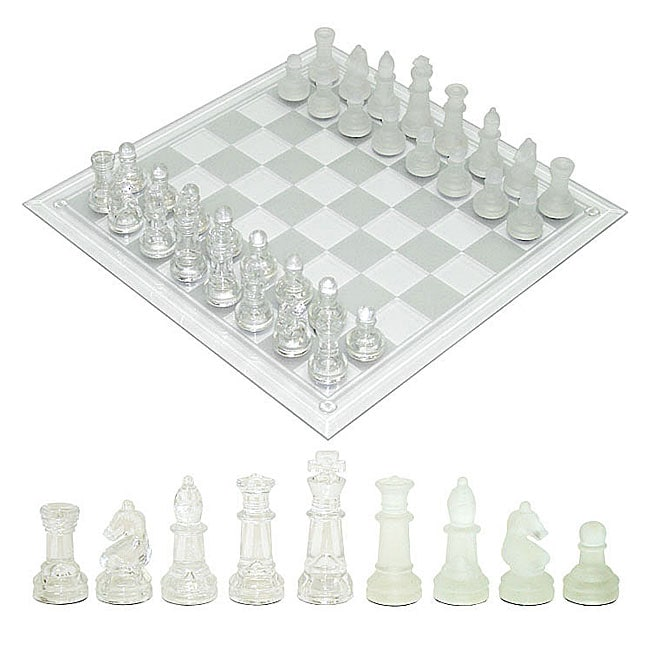 Frosted Clear Chess Set With 14 Inch Glass Board Free