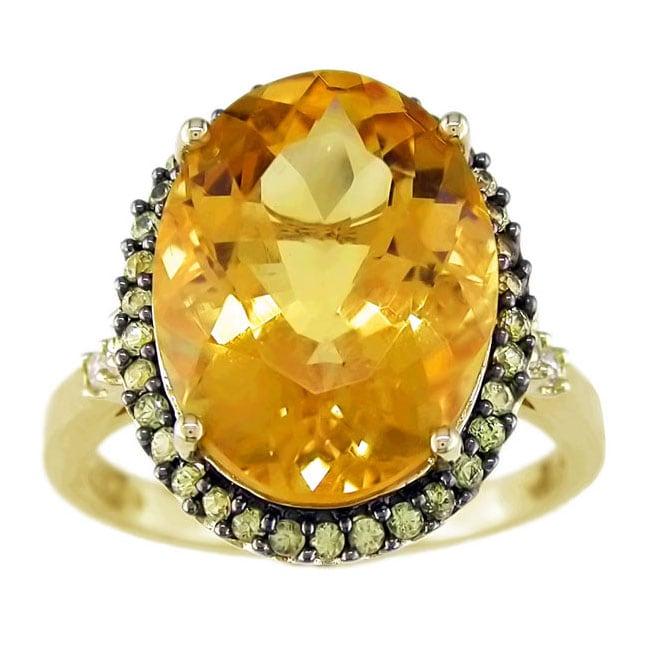 14k Yellow Gold Citrine & Yellow Sapphire Ring
