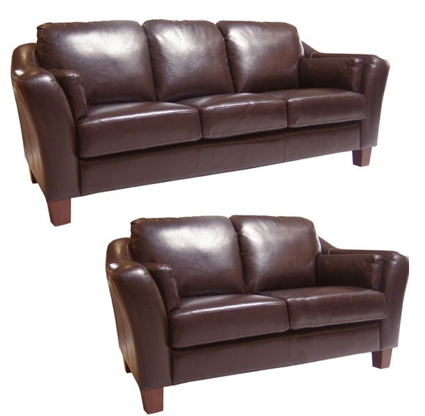 Avalon Chocolate Leather Sofa And Loveseat Free Shipping Today 10241959