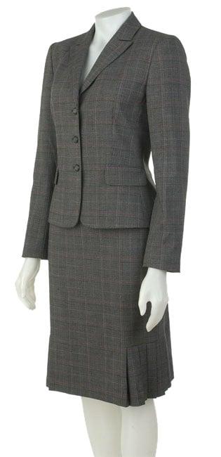 Tahari Grey/Black/Pink Two-piece Skirt Suit